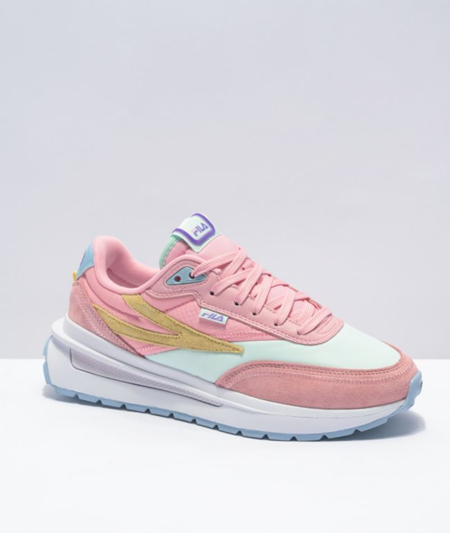 FILA Renno Coral Blush, White & Aqua Shoes
