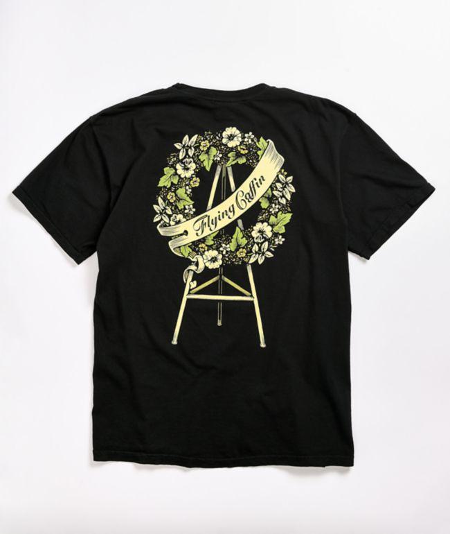 Flying Coffin Wreath Black T-Shirt