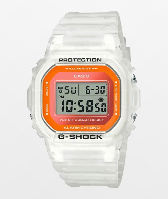 G-Shock DW5600 Clear White & Orange Digital Watch