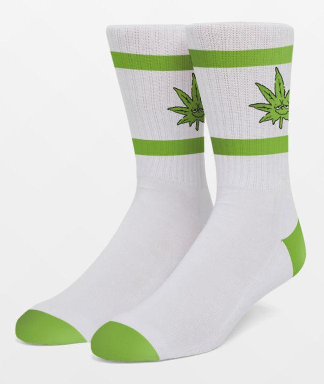 HUF 420 Green Buddy White Crew Socks