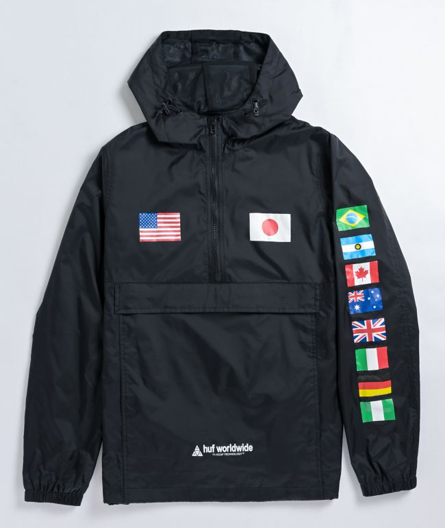 HUF Flags Black Anorak Jacket