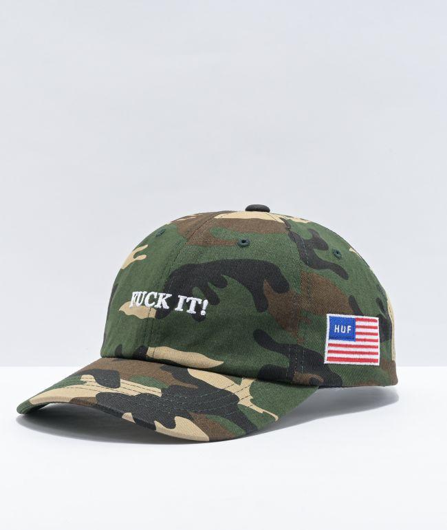 HUF Fuck It Camo Strapback Hat