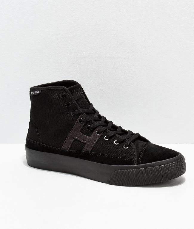 HUF Hupper 2 Hi All Black Skate Shoes