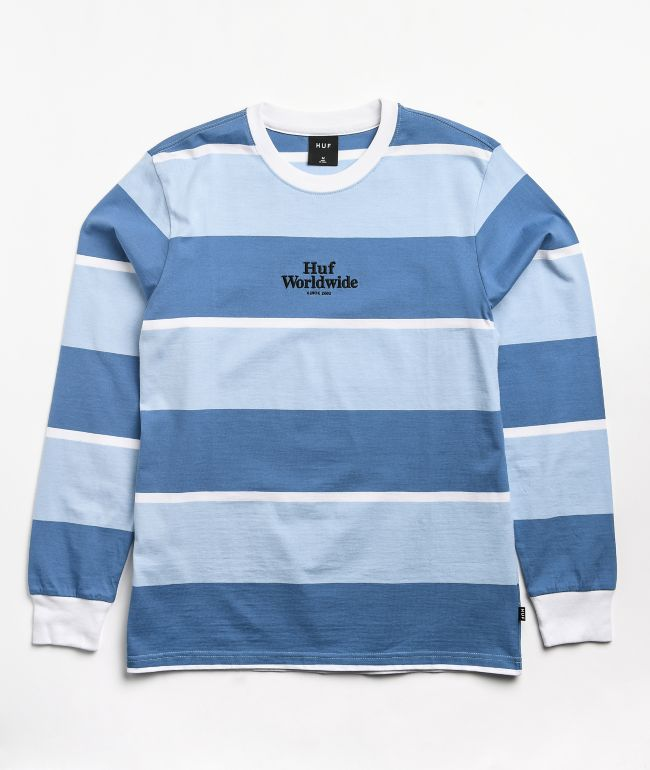 HUF Mazon Blue & White Stripe Knit Long Sleeve T-Shirt