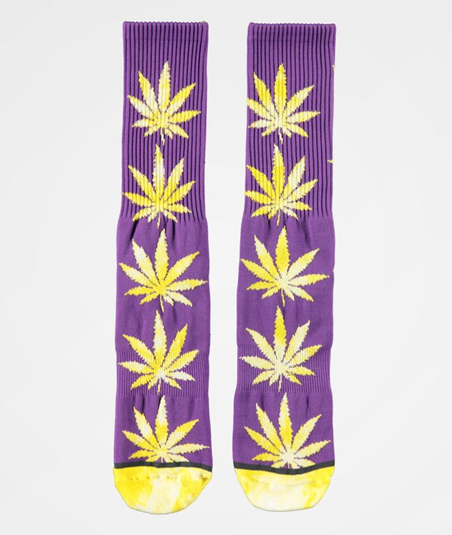 HUF Plantlife Tie Dye Leaves Ultra Violet Crew Socks