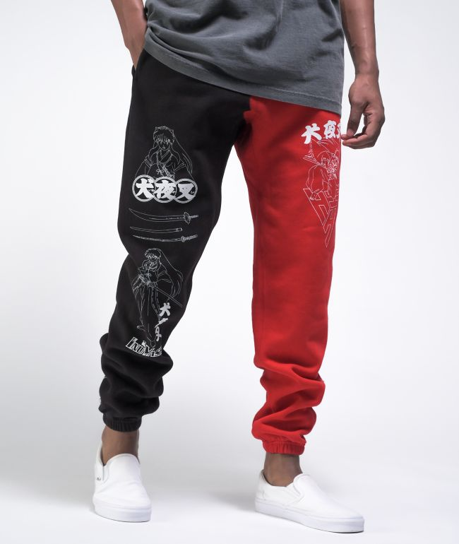 Hypland x InuYasha Black & Red Sweatpants