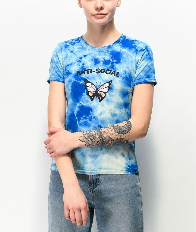 JV by Jac Vanek Anti Social Blue Tie Dye T-Shirt
