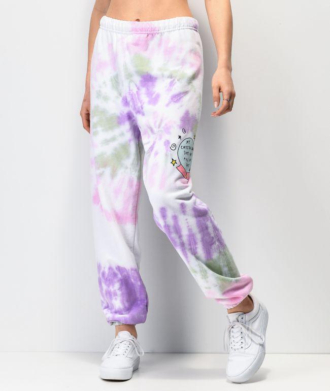 JV by Jac Vanek Crystal Ball pantalones deportivos de tie dye