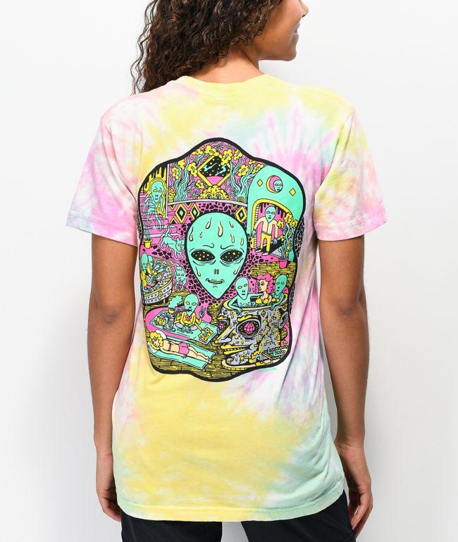 Killer Acid No Bad Trips Pink, Yellow & Green Tie Dye T-Shirt