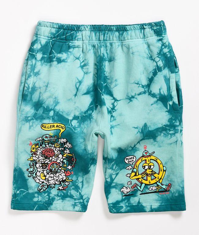 Killer Acid Peace Out Blue Tie Dye Elastic Waist Sweat Shorts