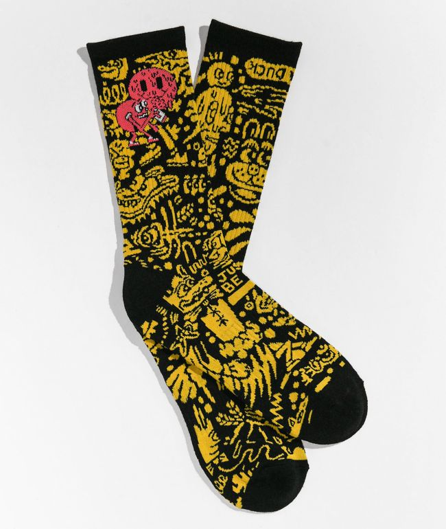 Killer Acid Smile Black Crew Socks