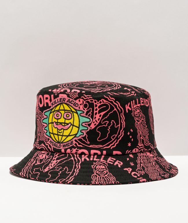 Killer Acid Worldwide Black & Pink Bucket Hat