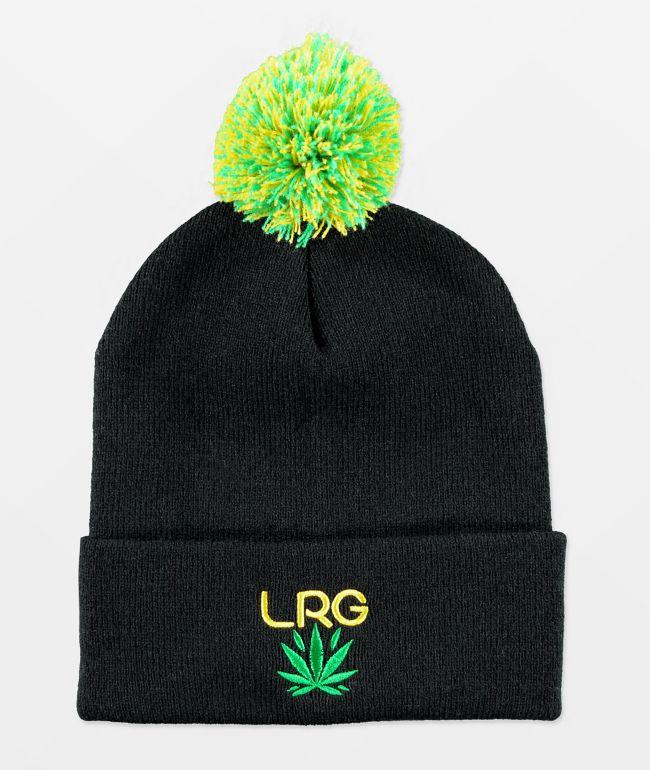 LRG Leaf Black Pom Beanie