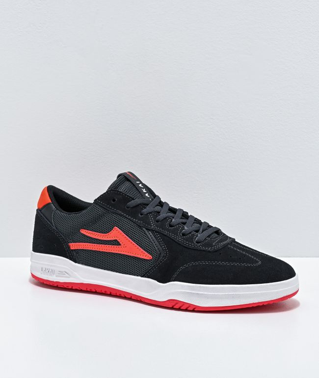 Lakai Atlantic Charcoal, Red & White Suede Skate Shoes