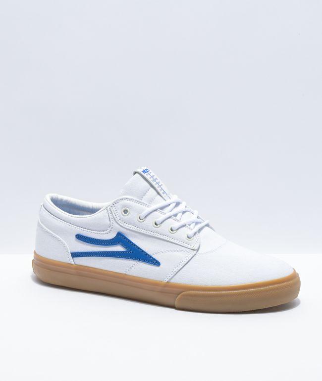 Lakai Griffin White \u0026 Blue Canvas Skate
