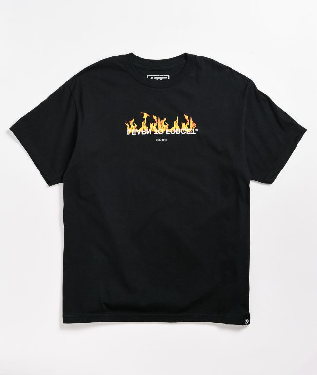 Learn To Forget Reflect Flame Logo Black T-Shirt