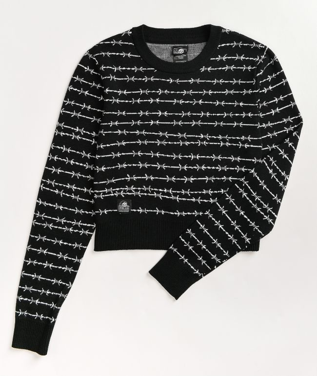 Lurking Class by Sketchy Tank Barbed Wire Black & White Crew Neck Sweater