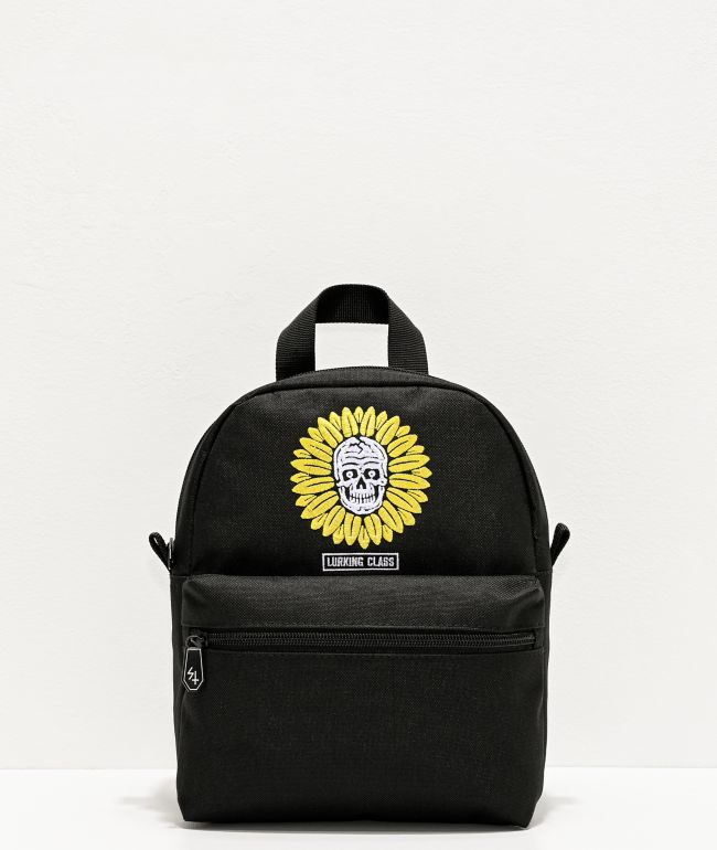 Lurking Class by Sketchy Tank Flower Skull Black Mini Backpack
