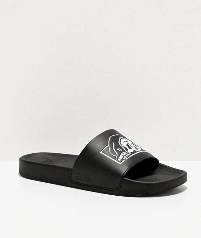 Lurking Class by Sketchy Tank Lurker Black & White Slide Sandals