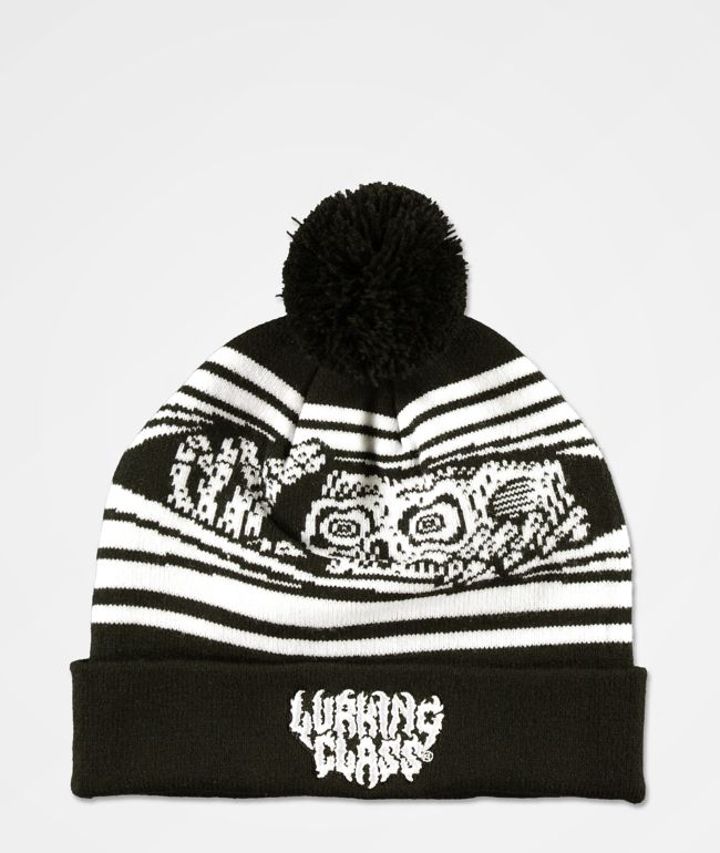Lurking Class by Sketchy Tank Peeking Black Pom Beanie