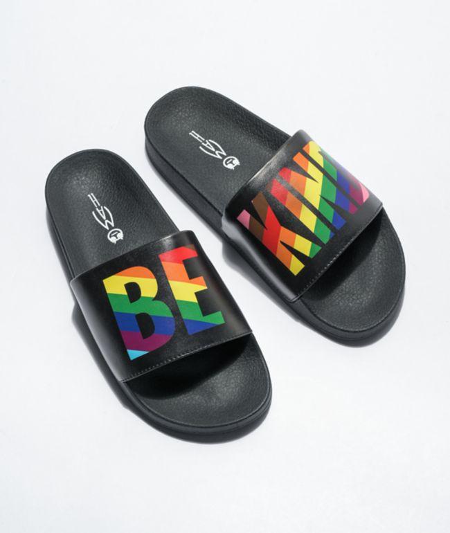 MAH Be Kind Black & Rainbow Slide Sandals
