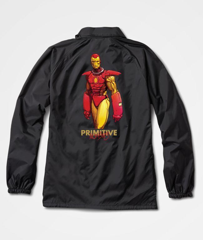 Marvel x Moebius by Primitive Iron Man Black Coaches Jacket