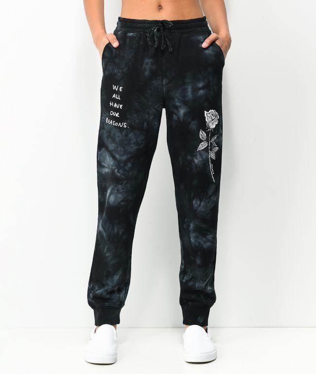 Melodie Reasons Rose Black Tie Dye Jogger Sweatpants