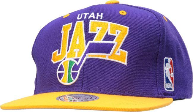 NBA Mitchell and Ness Utah Jazz Arch Snapback Hat   Zumiez