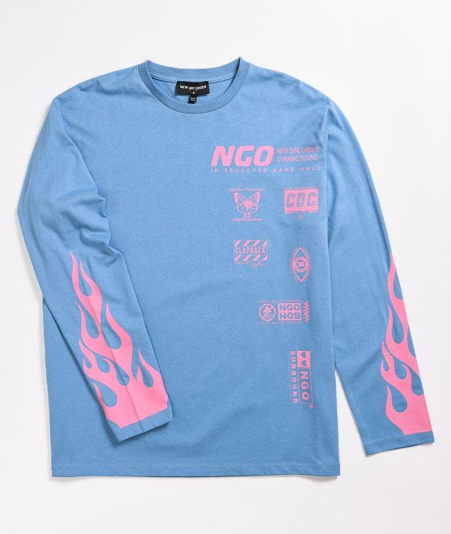 NEW girl ORDER Blue Flame Long Sleeve T-Shirt