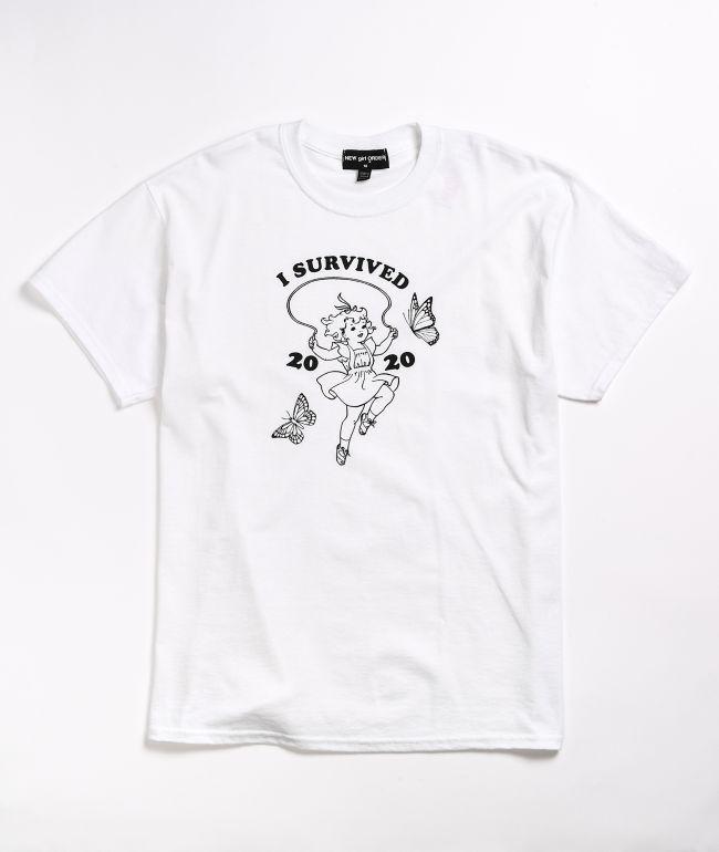 NEW girl ORDER I Survived White T-Shirt