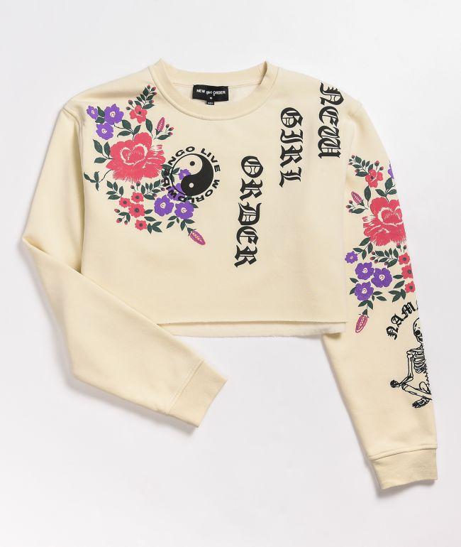 NEW girl ORDER Live Worldwide Flower Cream Crop Crew Neck Sweatshirt