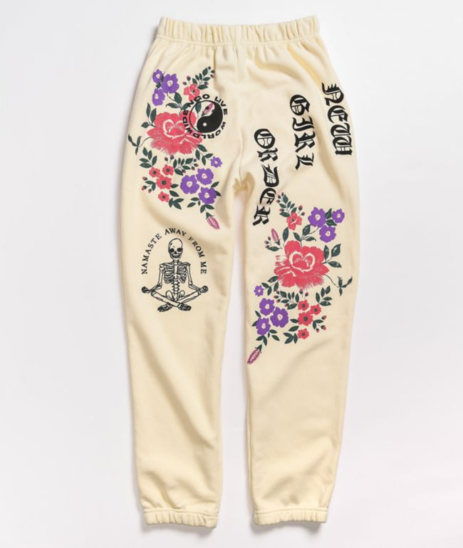 NEW girl ORDER Live Worldwide Flower Cream Sweatpants