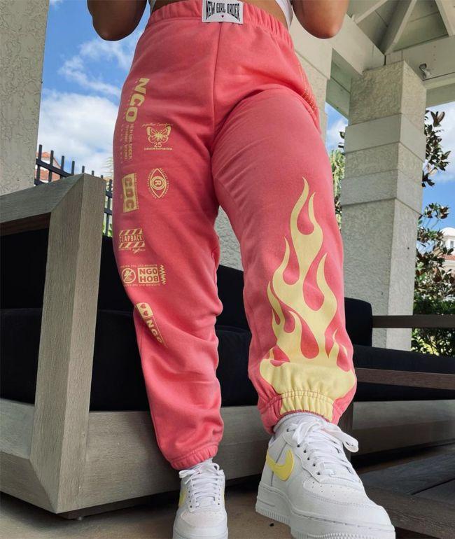 NGOrder Flame Coral Pink & Yellow Jogger Sweatpants