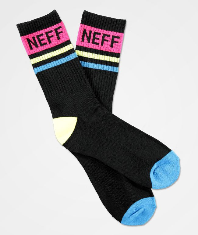 Neff Black, Blue Yellow & Pink Striped Crew Socks