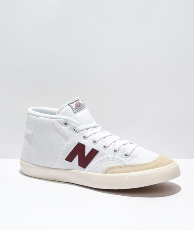 New Balance Numeric 213 White & Burgundy Skate Shoes