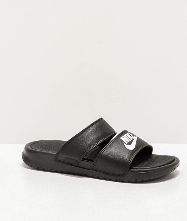 Nike Benassi Duo Black & White Slide Sandals