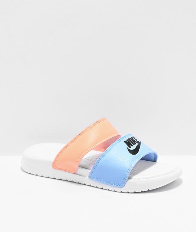 En la madrugada péndulo Limpia la habitación  Nike Benassi Duo Ultra Coral & Blue Slide Sandals   Zumiez