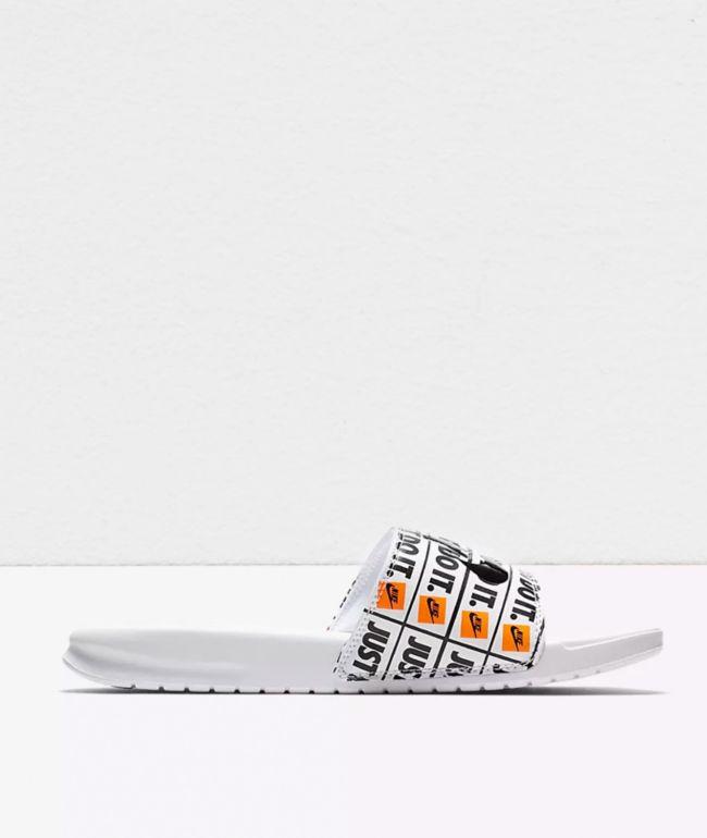 Nike Benassi JDI Print White & Black Slide Sandals