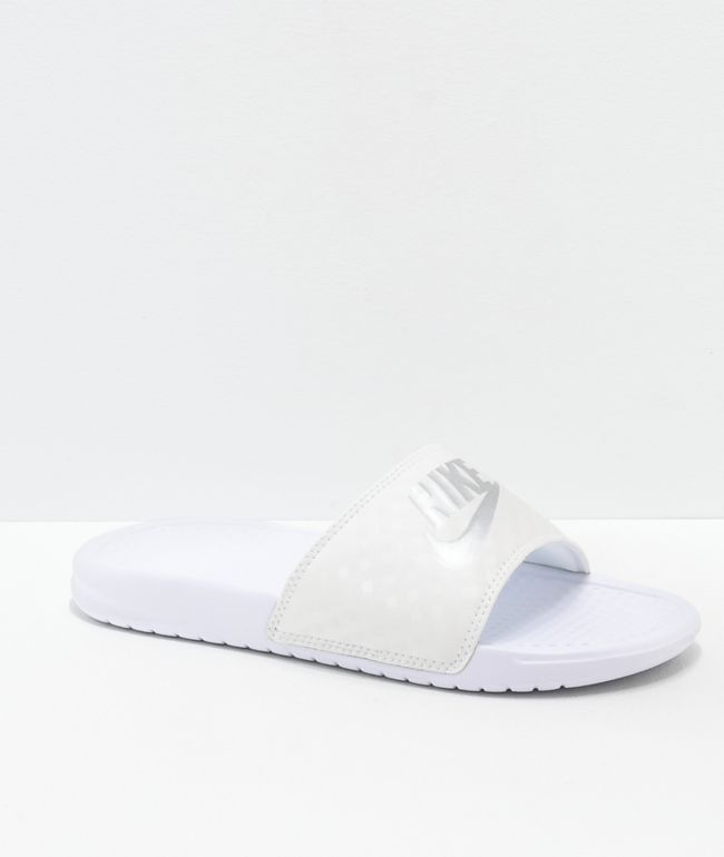 Nike Benassi White & Metallic Silver Slide Sandals