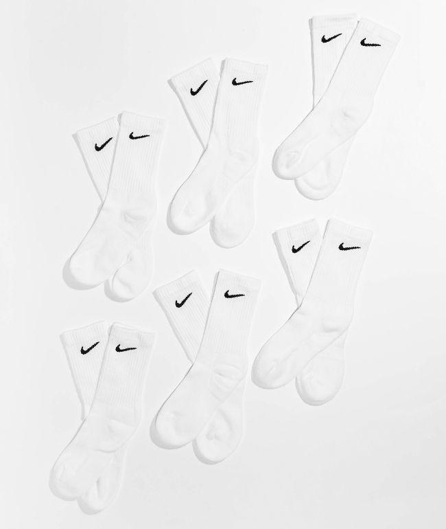 Nike Boys 6 Pack White Crew Socks