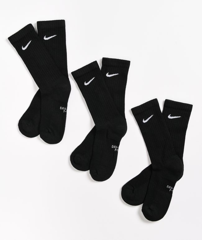 Nike Boys Black 3 Pack Crew Socks