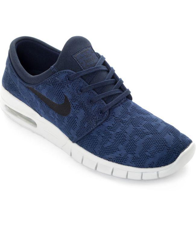 Entretener Lijadoras La playa  Nike Janoski Max zapatos de skate en azul marino y gris | Zumiez