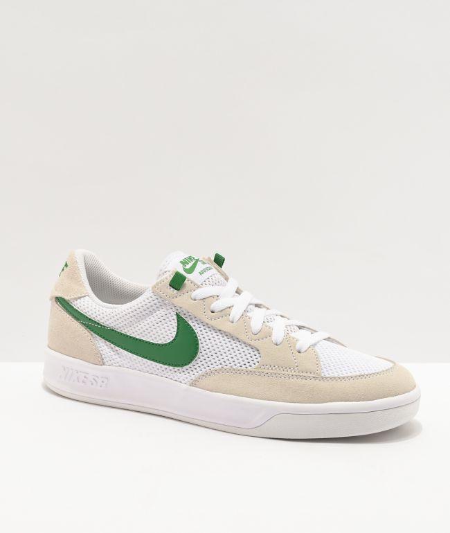 Nike SB Adversary White & Pine Green Skate Shoes