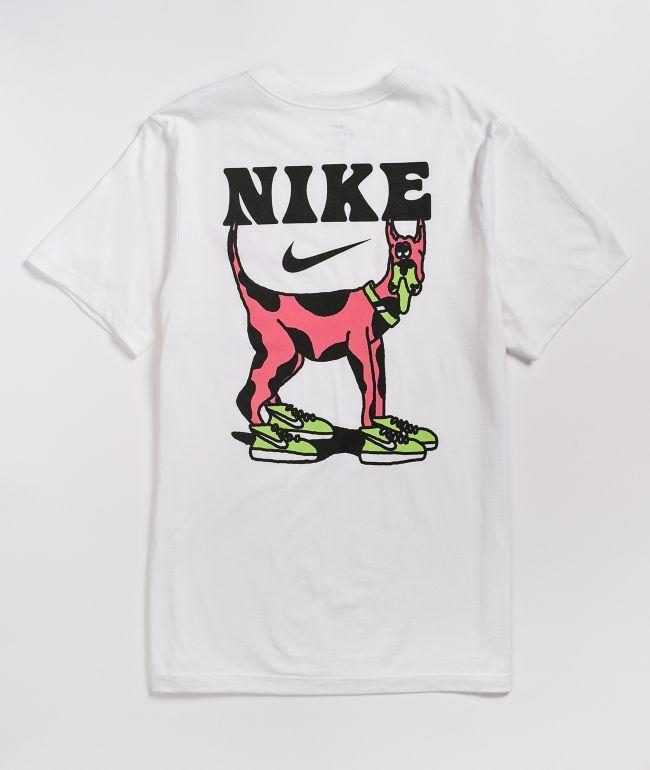 alto hecho papel  Nike SB Big Dog White & Pink T-Shirt   Zumiez
