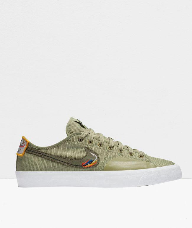 Nike SB Blazer Court DVDL Olive Skate Shoes