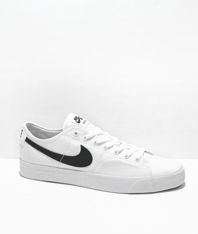 Nike SB Blazer Court White & Black Skate Shoes