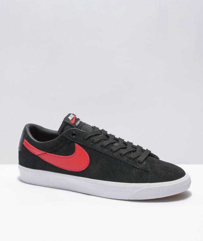 Nike SB Blazer Low Zoom GT Black, Red, & White Skate Shoes