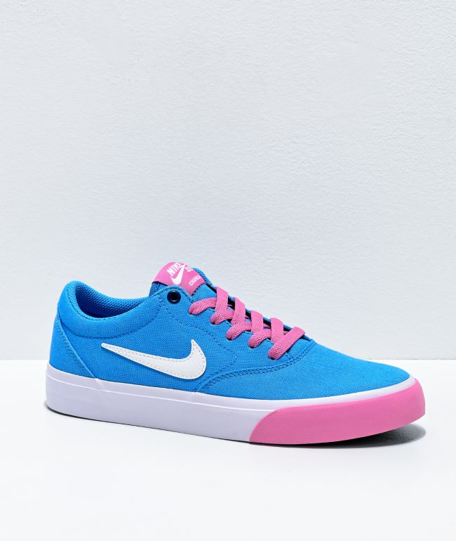 Nike SB Charge University Blue, Magic Flamingo Pink & White Skate Shoes