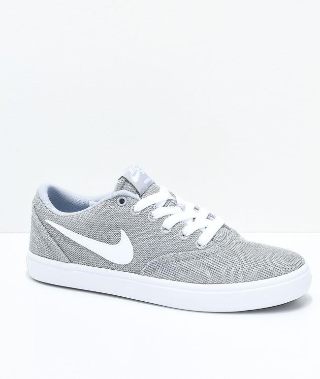 Nike SB Check Solarsoft Grey and White Skate Shoes