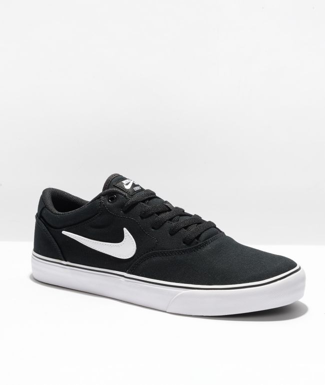 Nike SB Chron 2 Black & White Canvas Skate Shoes